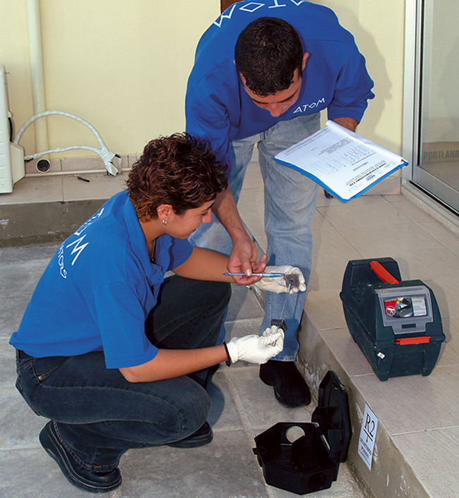 Refilling Bait Stations with Rodenticide